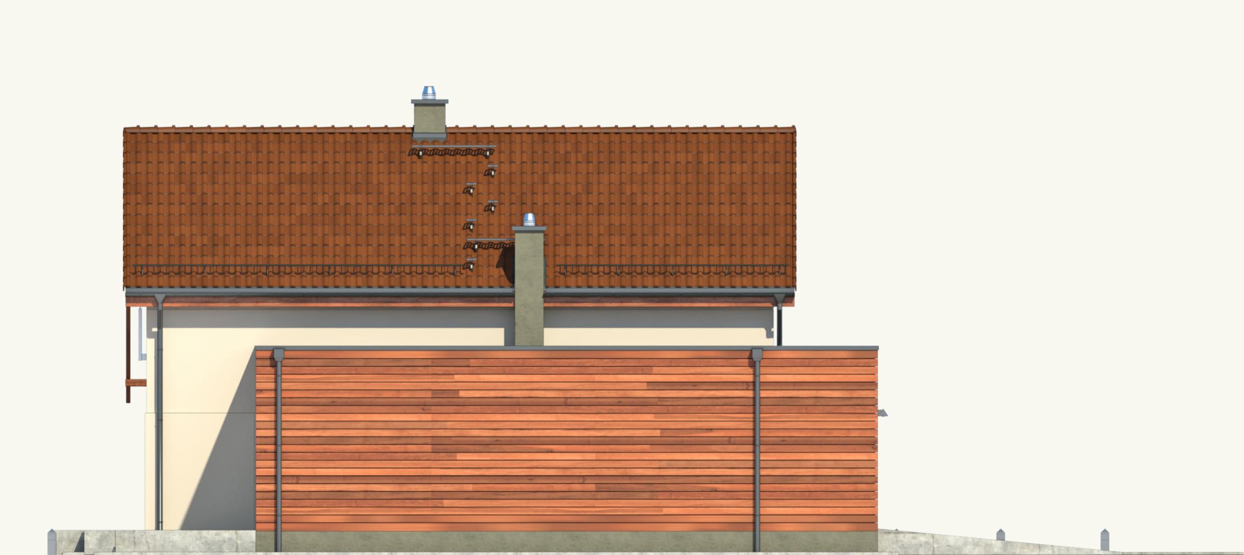 Projekt domu Z ORANŻERIĄ Domy Czystej Energii elewacja boczna