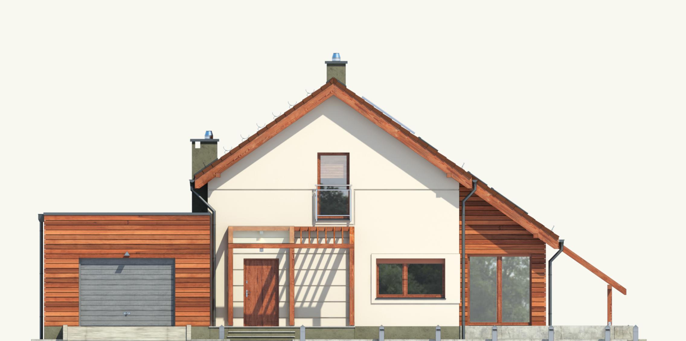 Projekt domu Z ORANŻERIĄ Domy Czystej Energii elewacja frontowa