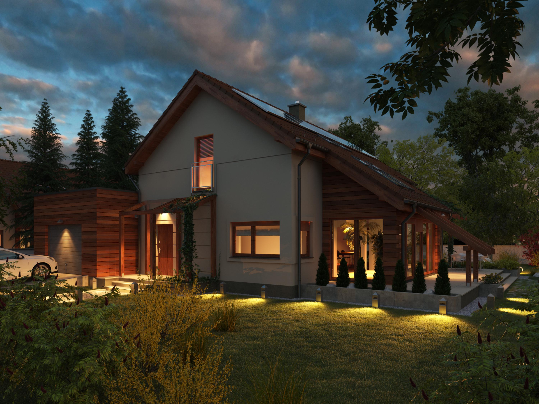 Projekt domu Z ORANŻERIĄ Domy Czystej Energii widok nocą